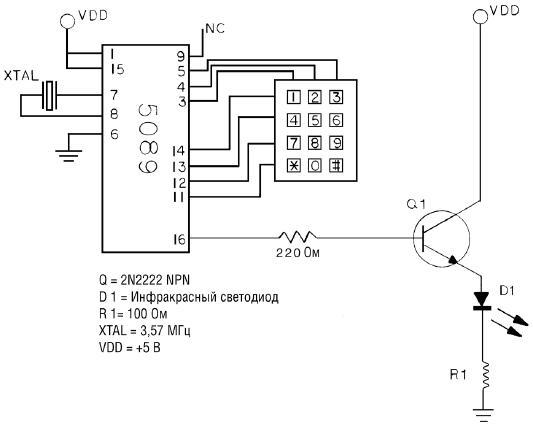 Схема ИК передатчика DTMF